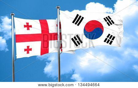 Georgia flag with South Korea flag, 3D rendering