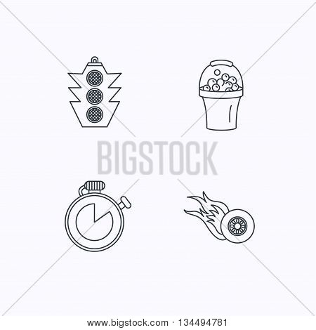Race, traffic lights and speed icons. Bucket with foam, fire wheel linear signs. Flat linear icons on white background. Vector