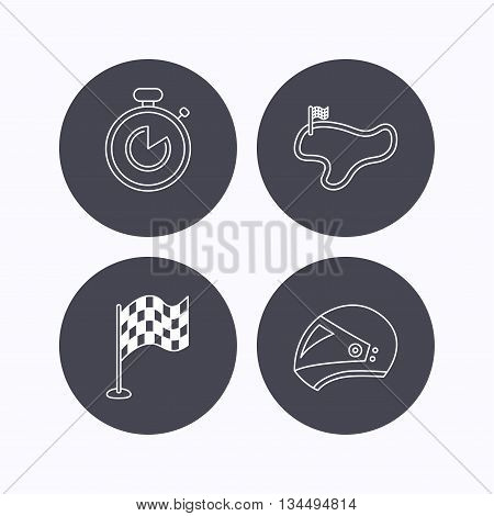 Race flag, timer and motorcycle helmet icons. Race lap linear sign. Flat icons in circle buttons on white background. Vector