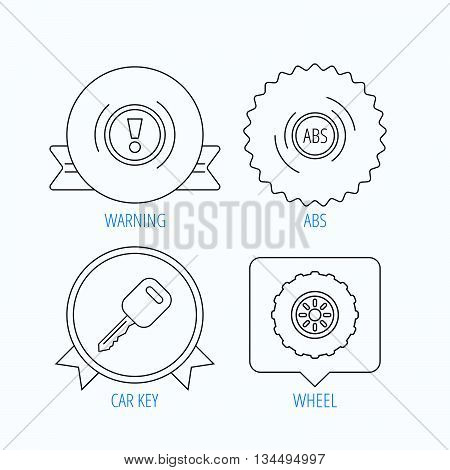 Car key, abs and wheel icons. Warning ABS, attention linear signs. Award medal, star label and speech bubble designs. Vector