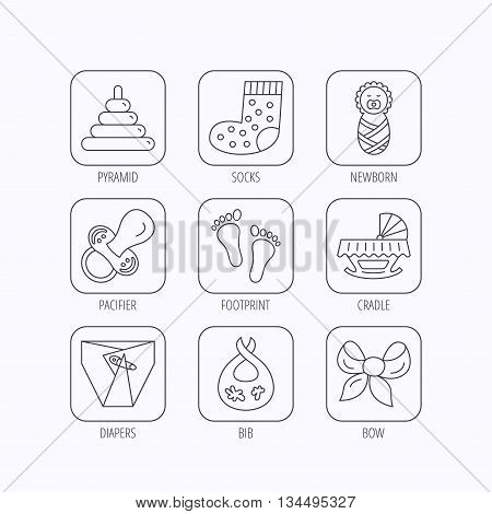 Pacifier, diapers and newborn icons. Footprint, socks and dirty bib linear signs. Pyramid toy, cradle bed flat line icons. Flat linear icons in squares on white background. Vector