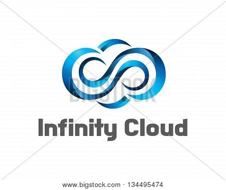 Infinity Cloud Logo Design Vector. Cloud Logo Template. 3D Cloud Symbol.