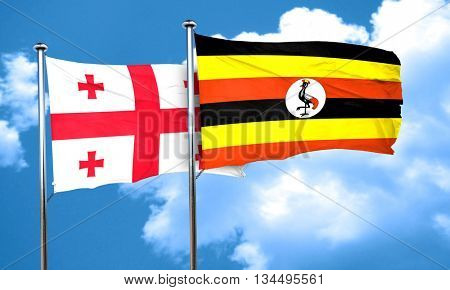 Georgia flag with Uganda flag, 3D rendering
