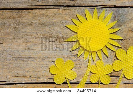 Beeswax, Sunflowers On Wooden Table, Copyspace