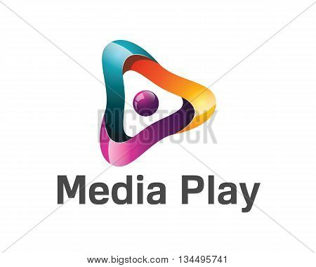 3D Media Play Logo Design. Colorful 3D Media Play Logo Vector Template. Media Play Concept With 3D S