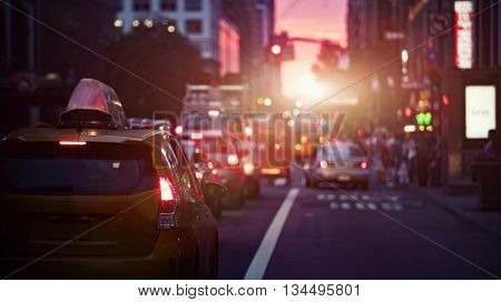 Beautiful sunset along a New York street blurred background