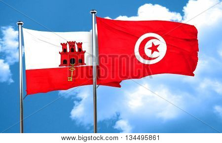 gibraltar flag with Tunisia flag, 3D rendering