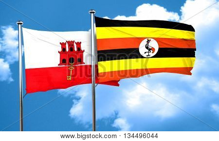gibraltar flag with Uganda flag, 3D rendering