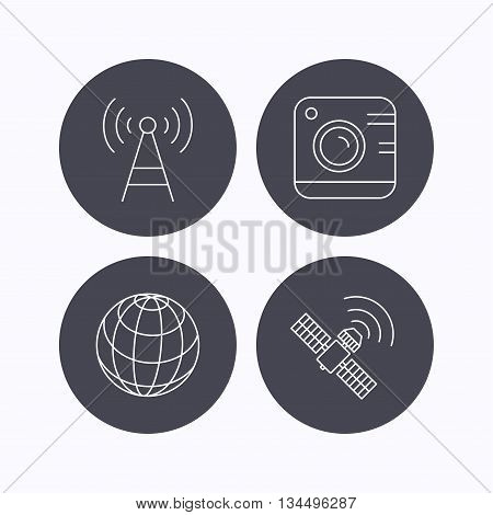 Photo camera, globe and gps satellite icons. Telecommunication station linear sign. Flat icons in circle buttons on white background. Vector