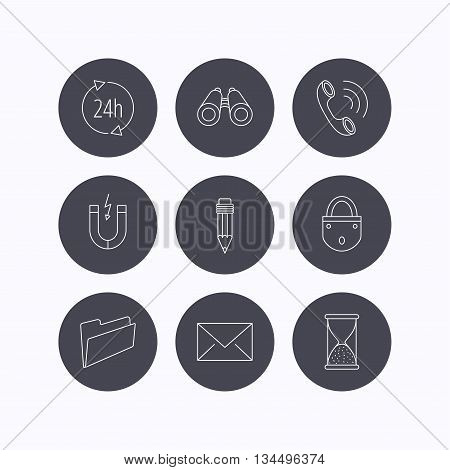 Phone call, pencil and mail icons. Search, 24h support and folder linear signs. Hourglass, magnet energy flat line icons. Flat icons in circle buttons on white background. Vector