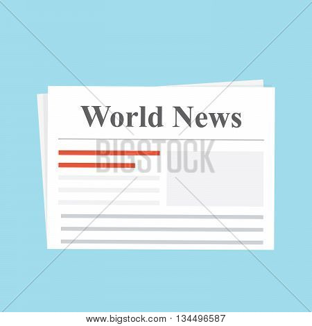 Newspaper. World News. The daily edition Flat illustration