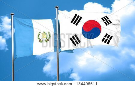 guatemala flag with South Korea flag, 3D rendering