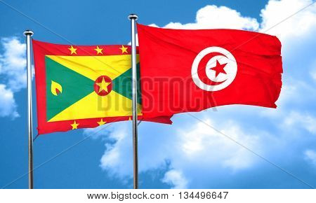 Grenada flag with Tunisia flag, 3D rendering