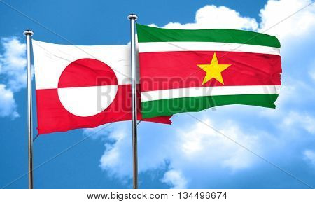 greenland flag with Suriname flag, 3D rendering