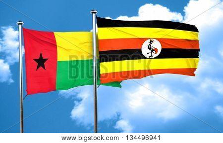 Guinea bissau flag with Uganda flag, 3D rendering