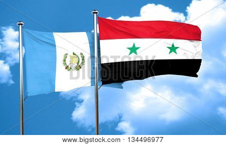 guatemala flag with Syria flag, 3D rendering