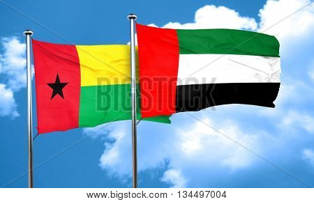 Guinea bissau flag with UAE flag, 3D rendering