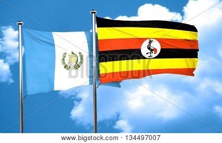 guatemala flag with Uganda flag, 3D rendering