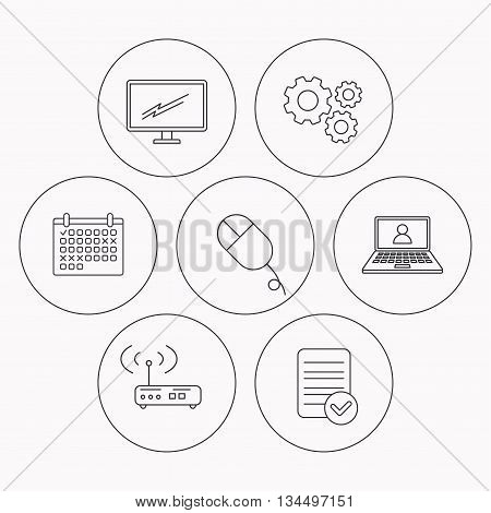 Wi-fi router, pc mouse and monitor tv icons. Webinar linear sign. Check file, calendar and cogwheel icons. Vector