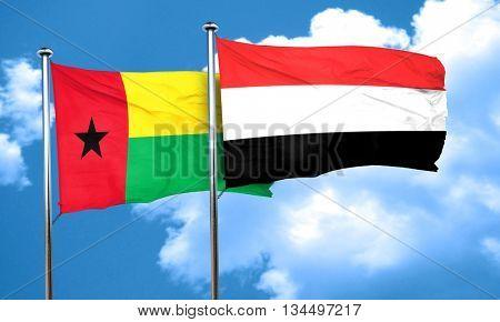 Guinea bissau flag with Yemen flag, 3D rendering