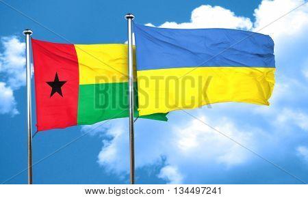 Guinea bissau flag with Ukraine flag, 3D rendering