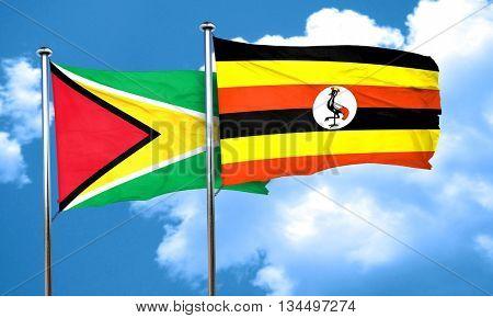 Guyana flag with Uganda flag, 3D rendering