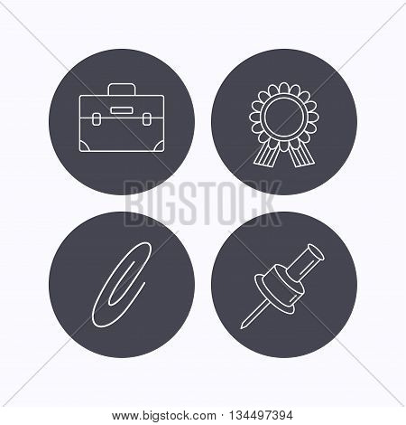 Award medal, pushpin and briefcase icons. Safety pin linear sign. Flat icons in circle buttons on white background. Vector
