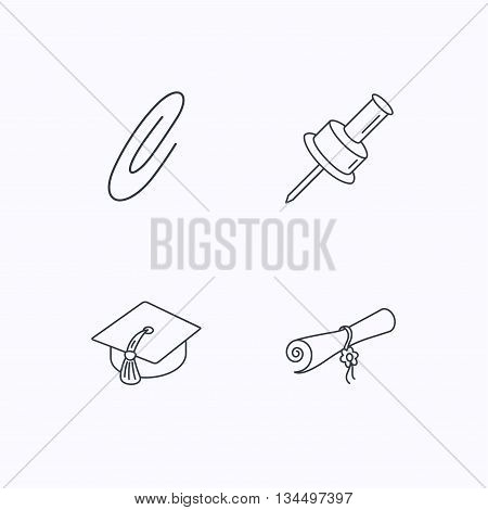 Graduation cap, pushpin and diploma icons. Safety pin linear sign. Flat linear icons on white background. Vector