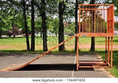 Jumping ramp for bicycle or skate on the public park
