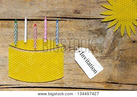 Beeswax, Cake With Candles And Sun On Wooden Table, Invitation
