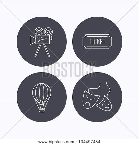 Video camera, ticket and theatre masks icons. Air balloon linear sign. Flat icons in circle buttons on white background. Vector