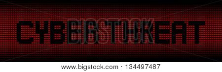 Cyber threat text on red laptops background illustration