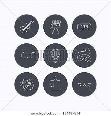 Puzzle, guitar music and theater masks icons. Ticket, video camera and 3d glasses linear signs. Entertainment, painting and mustache icons. Flat icons in circle buttons on white background. Vector