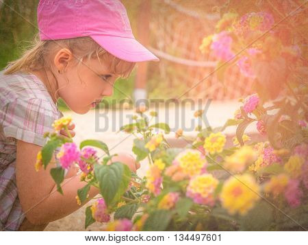 Little girl smelling blossoming flowers in spring