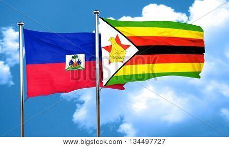 Haiti flag with Zimbabwe flag, 3D rendering