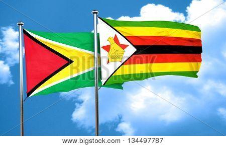 Guyana flag with Zimbabwe flag, 3D rendering