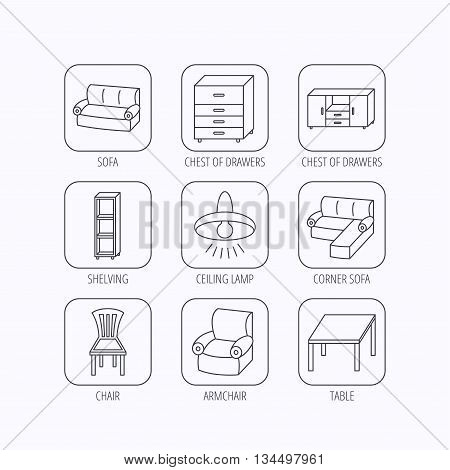 Corner sofa, table and armchair icons. Chair, ceiling lamp and chest of drawers linear signs. Shelving, furniture flat line icons. Flat linear icons in squares on white background. Vector