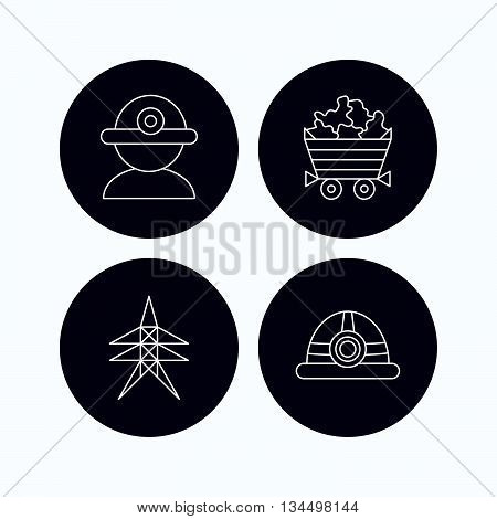 Worker, minerals and engineering helm icons. Electricity station linear sign. Flat icons in circle buttons on white background. Vector