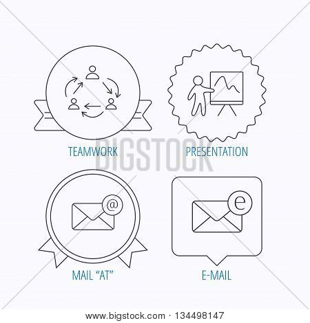 Teamwork, presentation and e-mail icons. E-mail inbox linear sign. Award medal, star label and speech bubble designs. Vector