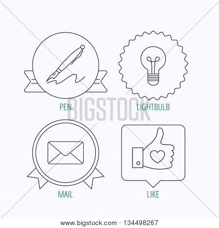 Mail, heart and lightbulb icons. Pen linear sign. Award medal, star label and speech bubble designs. Vector