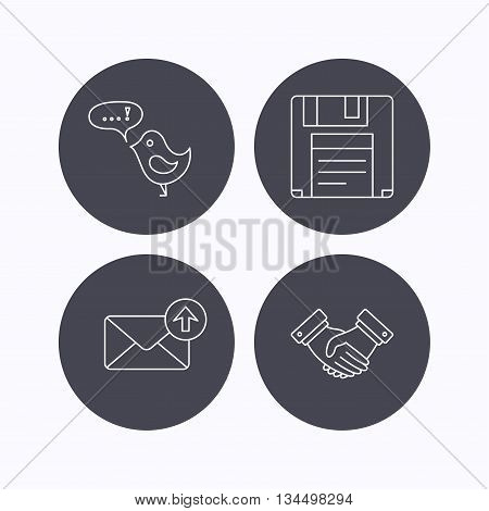 Outbox mail, message and handshake icons. Floppy disk linear sign. Flat icons in circle buttons on white background. Vector