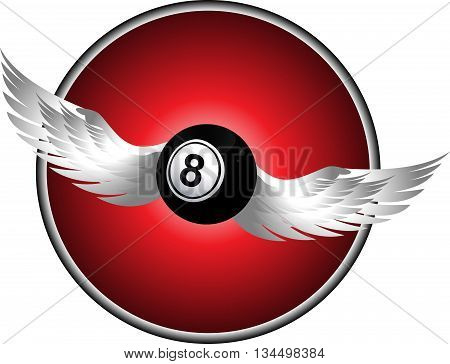 Bingo Ball Number Eight with Wings Over Dark Red Border