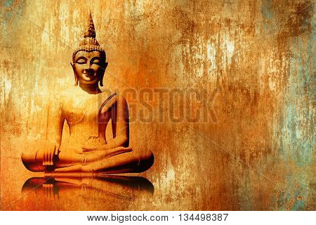 Buddha image in lotus position in grunge orange gold painting style - meditation background