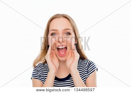 Cheerful Young Woman Holding Hand Near Mouth And