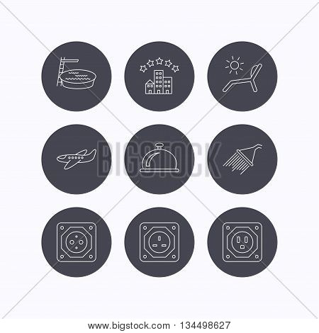 Hotel, swimming pool and beach deck chair icons. Reception bell, shower and airplane linear signs. European, UK and USA socket icons. Flat icons in circle buttons on white background. Vector