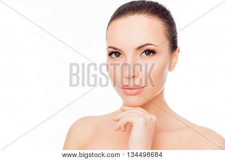 Attractive Sensual Girl With Smooth Skin Touching Her Chin