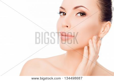 Young Beautiful Woman Expertising Skin On Her Face