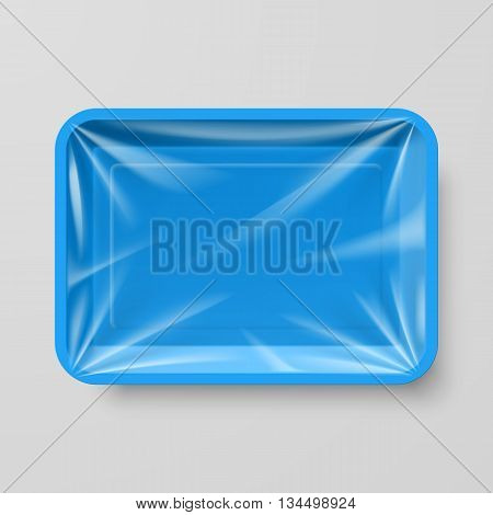 Empty Blue Plastic Food Container on Gray