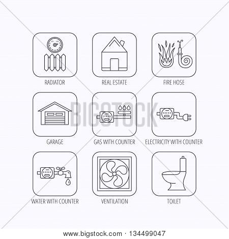 Ventilation, garage and heat radiator icons. Gas, water and electricity counter linear signs. Real estate, toilet and fire hose icons. Flat linear icons in squares on white background. Vector