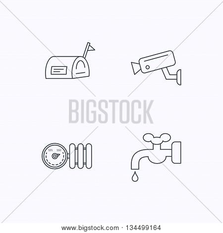Water supply, video camera and mailbox icons. Radiator with regulator linear sign. Flat linear icons on white background. Vector